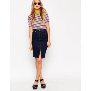 Asos Midi Front-split Skirt